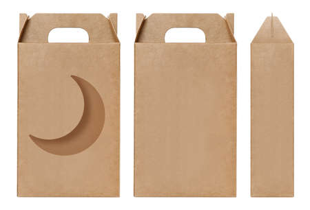 Box brown window Crescent Moon shape cut out Packaging template, Empty kraft Box Cardboard isolated white background, Boxes Paper kraft natural material, Gift Box Brown Paper from Industrial Packaging carton
