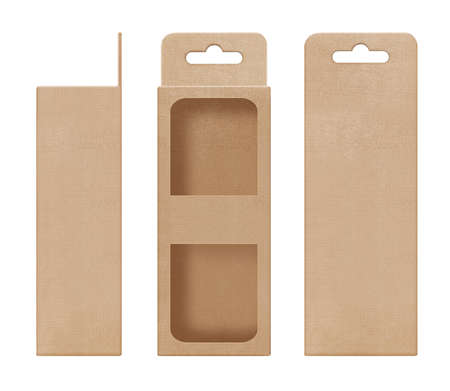 box, packaging, box brown for hanging cut out window shape open blank template for design product package