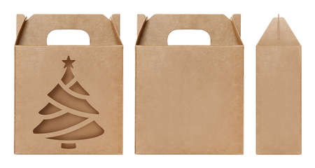 Box brown window Christmas tree shape cut out Packaging template, Empty kraft Box Cardboard isolated white background, Boxes Paper kraft natural material, Gift Box Brown Paper from Industrial Packaging carton