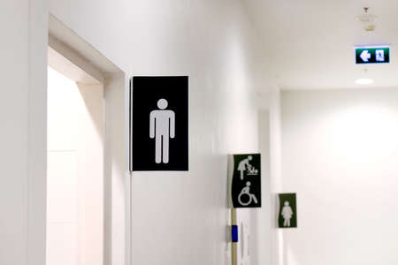 Toilet sign, Indoor bathroom sign 스톡 콘텐츠