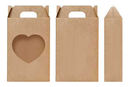 Box brown window Heart shape cut out Packaging template, Empty kraft Box Cardboard isolated white background, Boxes Paper kraft natural material, Gift Box Brown Paper from Industrial Packaging carton