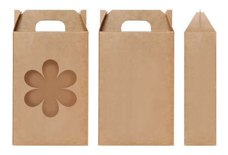 Box brown window Flower shape cut out Packaging template, Empty kraft Box Cardboard isolated white background, Boxes Paper kraft natural material, Gift Box Brown Paper from Industrial Packaging carton