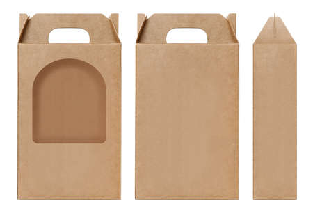 Box brown window shape cut out Packaging template, Empty kraft Box Cardboard isolated white background, Boxes Paper kraft natural material, Gift Box Brown Paper from Industrial Packaging carton Stock Photo