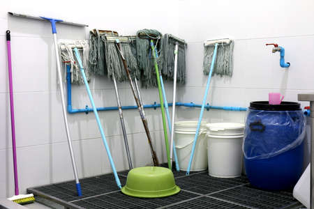 mop, mop store area, cleaning equipment, mop tool for housemaid