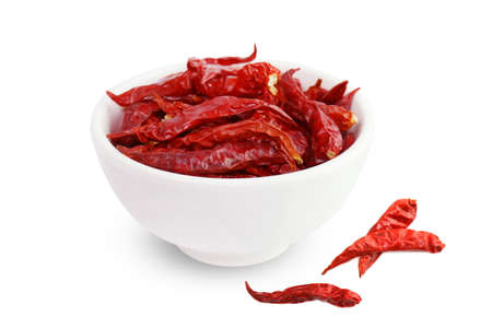 Chili, Chilli red Spicy hot flavor, Dried red chillies in a white cup top view on white background