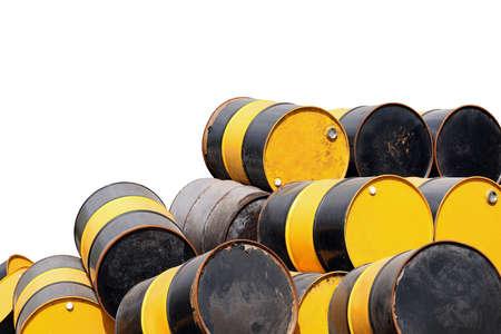 barrel oil, old barrel oil metal pile, barrel oil yellow and black color