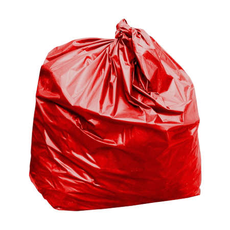 waste, red garbage bag plastic with concept the color of red garbage bags is toxic hazardous (isolated on white background)