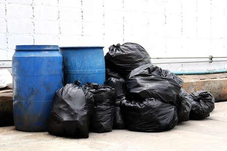 garbage is pile lots dump, many garbage plastic bags black waste at walkway community village, pollution from trash plastic waste garbage, bags bin of plastic waste, pile garbage waste, lots junk dump