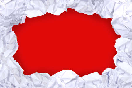 crumpled paper ball white frame on red color and copy space background, copy space in rough paper waste ball on red background for white paper ball banner advertising social