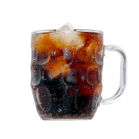 black cola soda in glass with ice cubes for refreshments feel, beverage cola and cubes ice refreshing cool in glass isolated on white background
