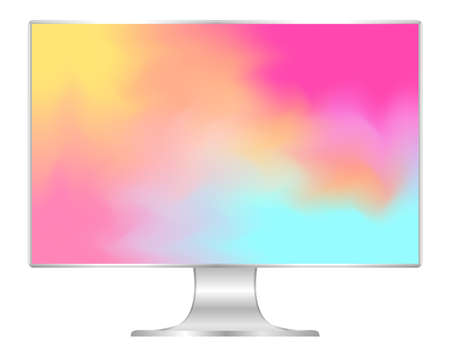 mock up computer and wallpaper colorful colors, flat monitor with multi colors vivid full screen, pc display digital wide screen and slim, colorful art on 4k modern screen, monitor modern lcd desktop Foto de archivo - 120478517