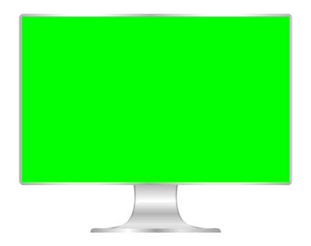 front of flat monitor green screen computer, pc display digital wide screen and slim, icon of monitor modern lcd, symbol 3d modern screen, mock up full screen desktop empty isolated white background Foto de archivo - 120478519