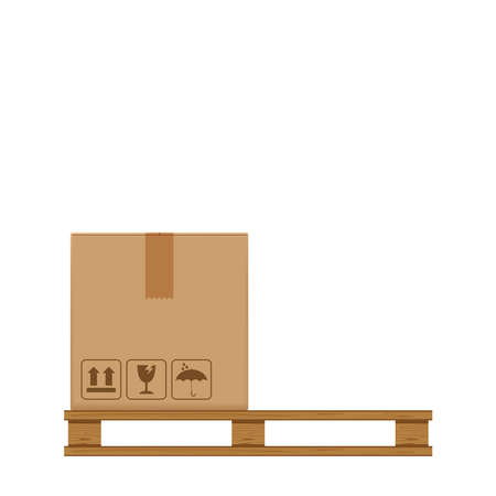 crate boxes on wooded pallet, wood pallet with cardboard box in factory warehouse storage, flat style warehouse cardboard parcel boxes stack, packaging cargo, 3d boxes brown isolated white background