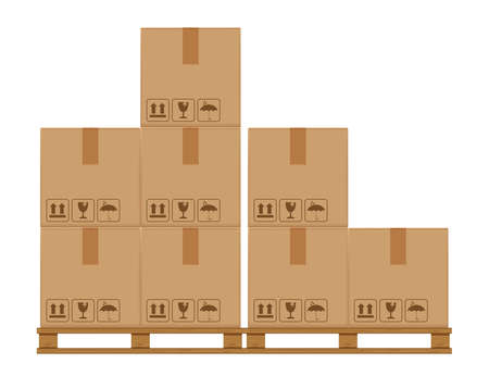 crate boxes eight on wooded pallet, wood pallet with cardboard box in factory warehouse storage, flat style warehouse cardboard parcel boxes stack, packaging cargo, 3d boxes brown isolated on white Ilustração