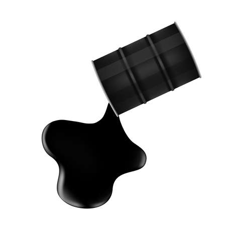 black metal barrel and crude oil drop and spill isolated on white background, crude oil is poured and flowing drops out of the black barrel oil tanker, black metal barrel and spilled crude oil drop Vetores