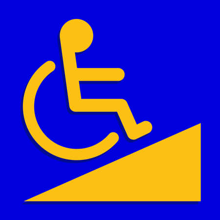 disabled signs blue colors frame background, sign boards of disability slope path ladder way sign badge for disabled, disabled symbol signs yellow on blue boards template Illusztráció