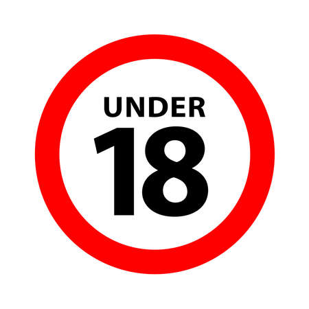 18 sign warning symbol isolated on white background, under 18 only censored, eighteen age older forbidden adult content