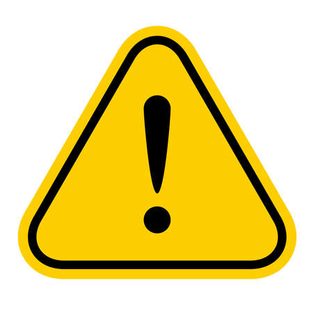warning sign yellow, exclamation mark icon, danger sign, attention sign, caution alert symbol orange isolated on white background