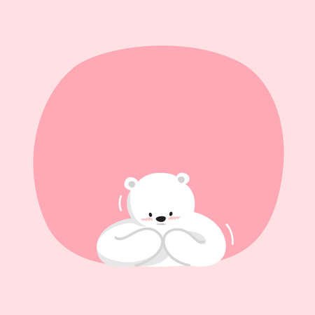 white bear cartoon character cute on pink pastel color background for banner copy space empty, white bear on speech bubble template, empty banner teddy bear mascot cartoon beautiful