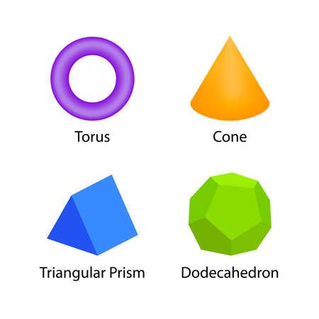 définir le vocabulaire des formes 3D en anglais avec leur collection de cliparts de nom pour l'apprentissage des enfants, carte flash de formes géométriques colorées d'enfants d'âge préscolaire, symboles simples formes 3d géométriques pour la maternelle Vecteurs