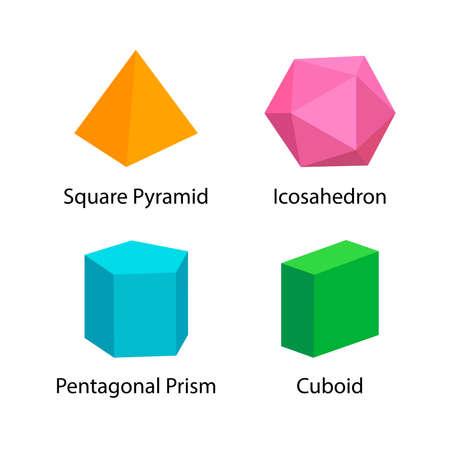 establecer vocabulario de formas 3D en inglés con su nombre colección de imágenes prediseñadas para el aprendizaje de los niños, tarjetas de memoria flash de formas geométricas coloridas de niños en edad preescolar, símbolo simple formas geométricas en 3D para jardín de infantes