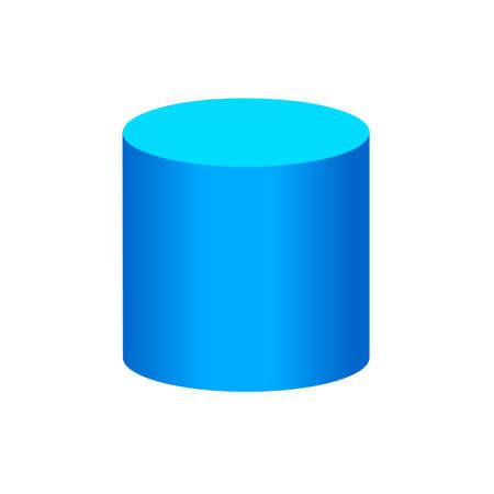 cylindre bleu formes 3d simples de base isolées sur fond blanc, icône de cylindre géométrique, cylindre de symbole de forme 3d, forme de cylindre géométrique clip art pour l'apprentissage des enfants Vecteurs