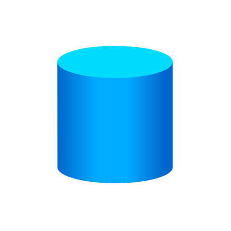 blue cylinder basic simple 3d shapes isolated on white background, geometric cylinder icon, 3d shape symbol cylinder, clip art geometric cylinder shape for kids learning
