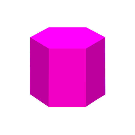 prisme hexagonal violet formes 3d simples de base isolées sur fond blanc, icône de prisme hexagonal géométrique, prisme hexagonal de symbole de forme 3d, forme de prisme hexagonal géométrique de clip art pour l'apprentissage des enfants Vecteurs