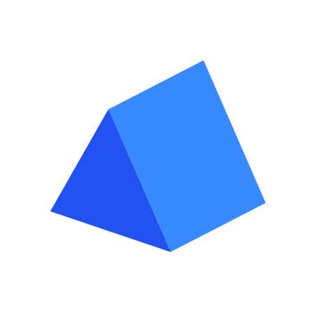 prisme triangulaire bleu forme 3d simple de base isolée sur fond blanc, icône de prisme triangulaire géométrique, prisme triangulaire de symbole de forme 3d, forme de prisme triangulaire géométrique clipart pour l'apprentissage des enfants