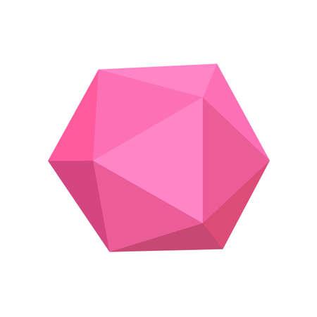 icosaèdre rose formes 3d simples de base isolées sur fond blanc, icône d'icosaèdre géométrique, icosaèdre de symbole de forme 3d, forme d'icosaèdre géométrique d'image clipart pour l'apprentissage des enfants