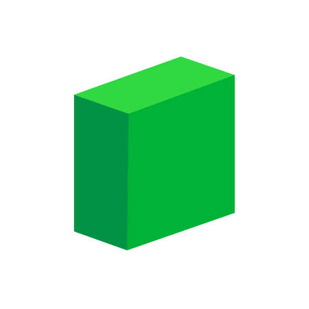 green cuboid basic simple 3d shapes isolated on white background, geometric cuboid box icon, 3d shape symbol cuboid, clip art geometric cuboid shape for kids learning