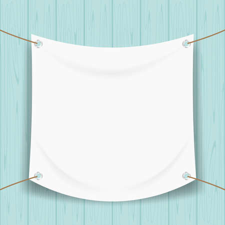 vinyl banner blank white isolated on pastel wood frame, white mock up textile fabric empty for banner advertising stand hanging, indoor outdoor fabric mesh vinyl backdrop for presentation frame poster Vettoriali