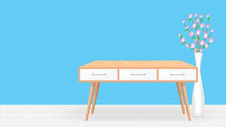 bureau en bois vide dans le fond de la chambre bleue et pot de fleurs, table en bois moderne dans la chambre bleue vierge, intérieur de la salle de décoration en bois de table, mobilier en bois de style art moderne de la salle de bureau et texte de l'espace de copie Vecteurs