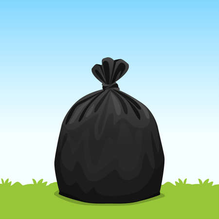 black bag plastic garbage on grass sky background, bin bag, garbage bags for waste, pollution plastic bag waste, 3r ad, waste plastic bags and copy space for banner advertising background Ilustração