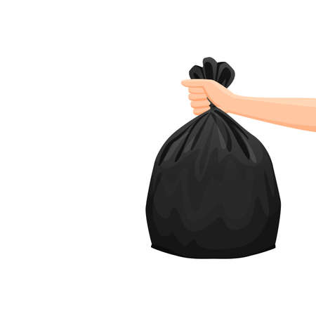 bags waste, garbage black plastic bag in hand isolated on white background, bin bag plastic black for disposal garbage, icon bag trash and hand, bags waste full, illustration rubbish junk bag recycle Çizim