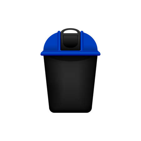 Bin, Recycle plastic blue small bin for waste isolated on white background, Blue bin with recycle waste symbol, Front view of recycle bin blue color for garbage waste
