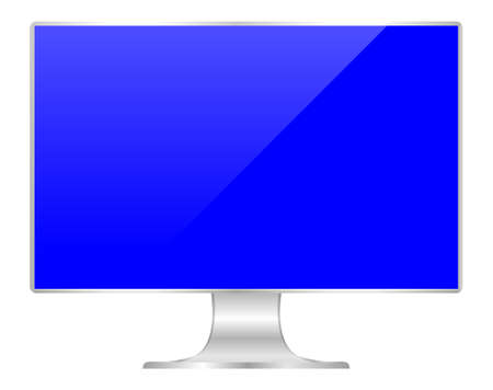 front of flat monitor blue screen computer, pc display digital wide screen and slim, icon of monitor modern lcd, symbol 3d modern screen, mock up full screen desktop empty isolated white background