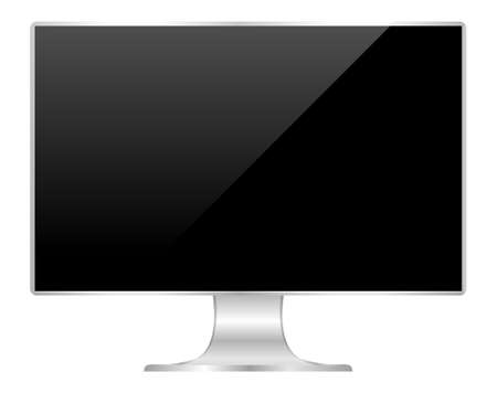 front of flat monitor black screen computer, pc display digital wide screen and slim, icon of monitor modern lcd, symbol 3d modern screen, mock up full screen desktop empty isolated white background Foto de archivo - 121629414