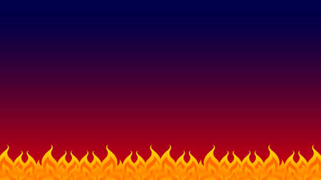 fire, flame row on red blue gradient background dark, bonfire frame, fire flame isolated on dark blue and copy space, fire flame illustration for graphic banner background design