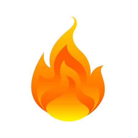 fiamma, palla di fuoco isolata su sfondo bianco, simbolo di bruciatura del fuoco, icona di fiamme, logo fiammeggiante, illustrazione di fiammata di falò, icona palla di fuoco piatta per info design grafico, simbolo caldo per il sito web