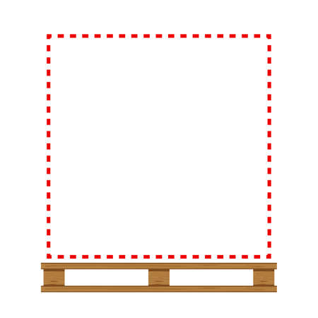 empty wooded pallet and red line frame in temporarily out of stock concept, blank wooded pallet for copy space sold out or run out of product message, blank pallet wood for placing products boxes