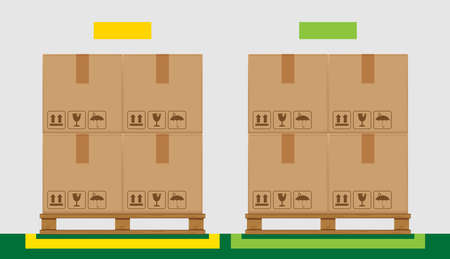 crate boxes on wooded pallet and green marking area for products arrangement concept, stack cardboard box in factory warehouse storage, cardboard parcel boxes packaging cargo brown isolated on grey Ilustração
