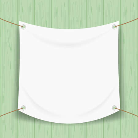 vinyl banner blank white isolated on green pastel wood frame, mock up textile fabric empty for banner advertising stand hanging, indoor outdoor fabric mesh vinyl backdrop for presentation frame poster Banco de Imagens - 122117090