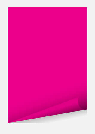 pink a4 paper blank curl corner template isolated on grey background, sticker sheet of paper curl pink a4 paper template frame element for graphic design card advertising and a4 banner promotional