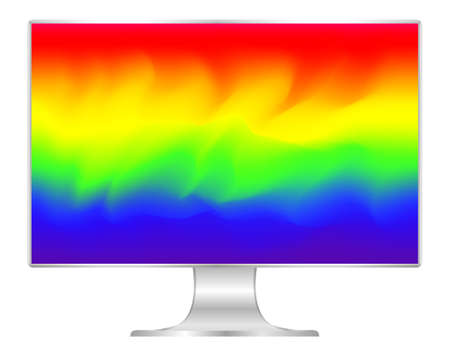 mock up computer and wallpaper colorful colors, flat monitor with multi colors vivid full screen, pc display digital wide screen and slim, colorful art on 4k modern screen, monitor modern lcd desktop