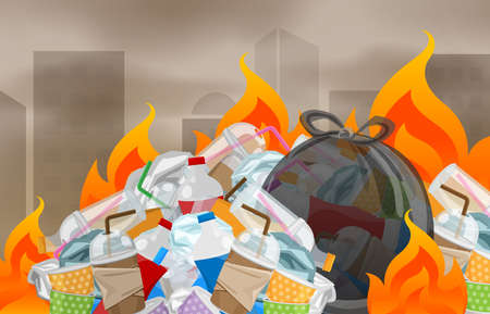 illustration pollution from waste plastic incineration in urban, garbage waste disposal with burnt incinerate, fire flame garbage burning and smoke air polluted, fire smoke burn garbage waste plastic Ilustração