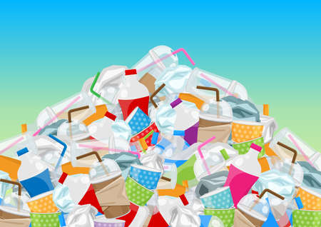 pile garbage waste plastic and paper in mountain shape isolated on blue background, bottles plastic garbage waste many, stack of plastic bottle paper cup waste dump, pollution garbage