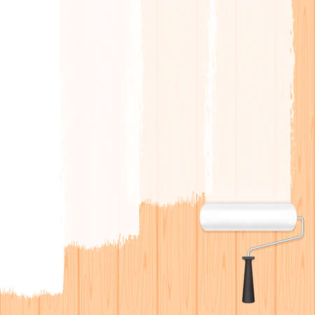 paint roller white on wooden wall for banner background and copy space text advertising, paint brush roller painted white on wood banner frame, wood area ad and paint brush roller, roller brush icon Ilustracja
