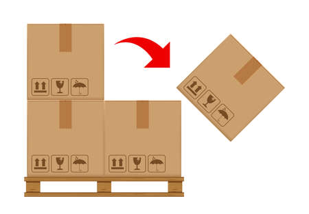 crate boxes on wooded pallet and symbol red arrow for product arrangement concept, stack cardboard box in factory warehouse storage, cardboard parcel boxes packaging cargo brown isolated on white