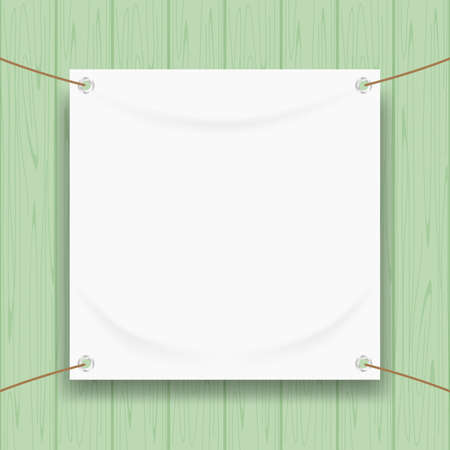 vinyl banner blank white isolated on green pastel wood frame, mock up textile fabric empty for banner advertising stand hanging, indoor outdoor fabric mesh vinyl backdrop for presentation frame poster